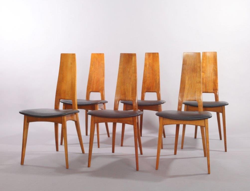 German Cherry Wood Extendable Dining Table with Six Chairs by Ernst ...