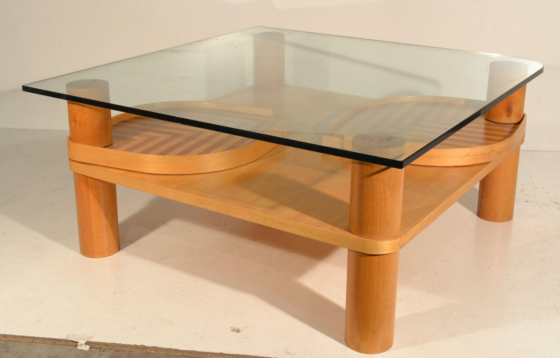 italienischer couchtisch aus ahornholz glas bei pamono kaufen. Black Bedroom Furniture Sets. Home Design Ideas