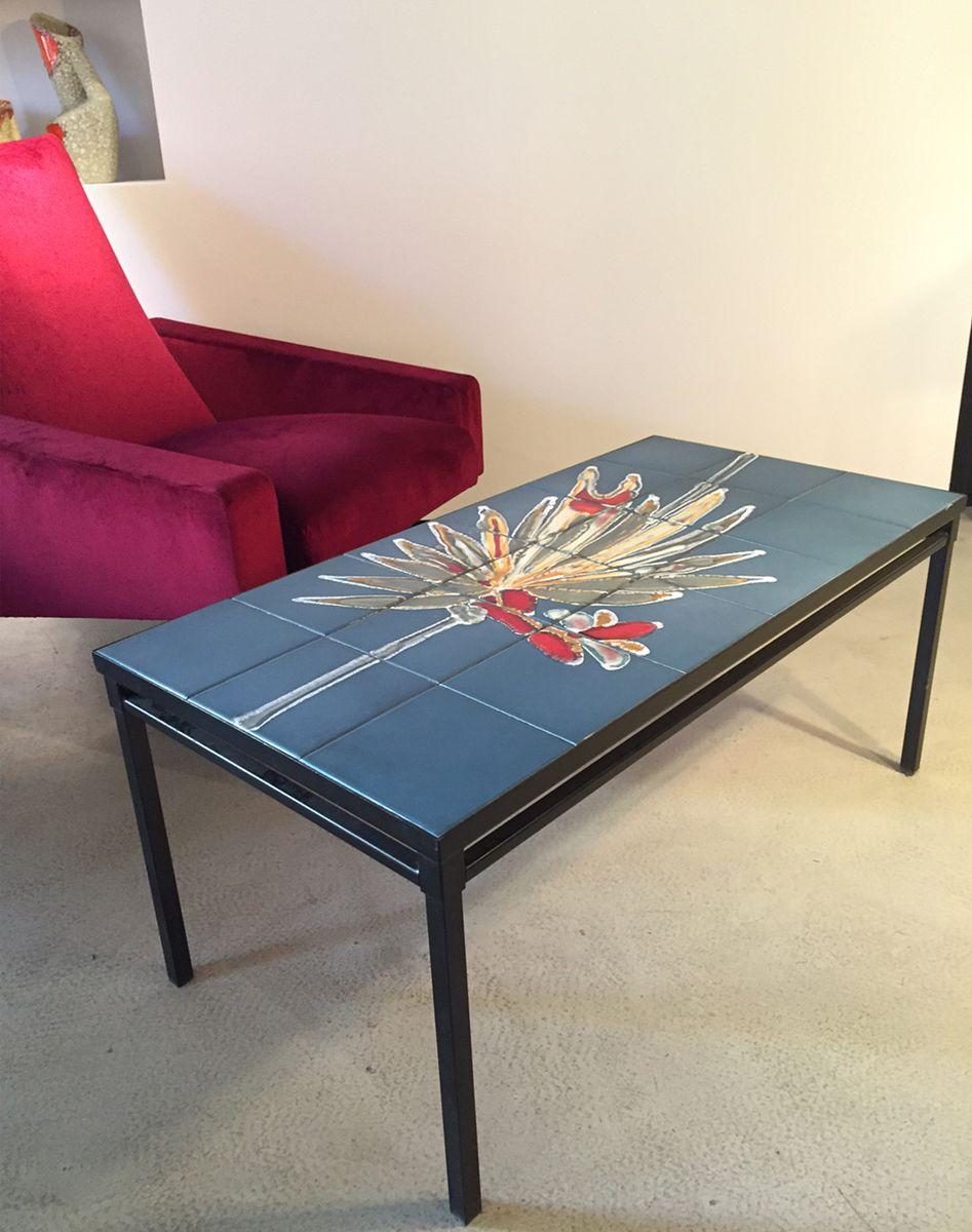 couchtisch aus keramik und schwarzem metall 1950er bei pamono kaufen. Black Bedroom Furniture Sets. Home Design Ideas