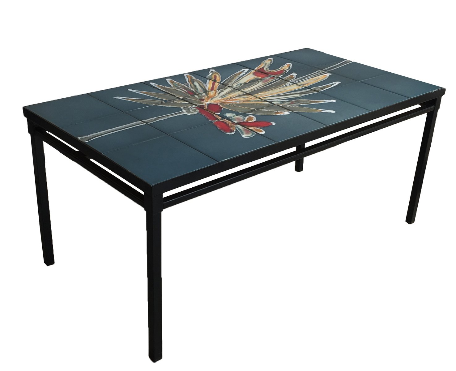 Ceramic and Black Metal Coffee Table 1950s for sale at Pamono