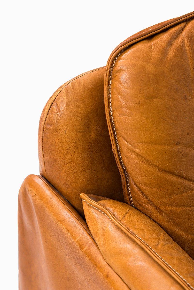 braunes drei sitzer ledersofa von de sede 1950er bei. Black Bedroom Furniture Sets. Home Design Ideas