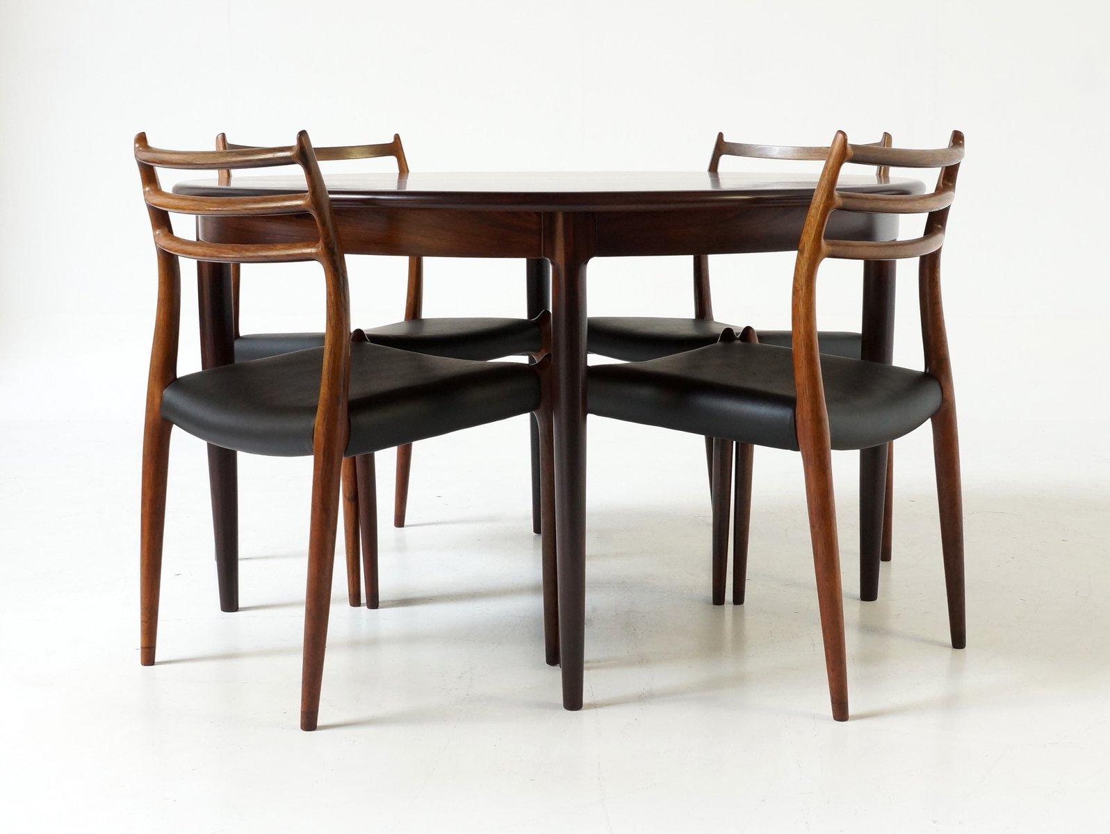 ausziehbarer mid century palisander esstisch von niels otto m ller f r j l m llers bei pamono. Black Bedroom Furniture Sets. Home Design Ideas