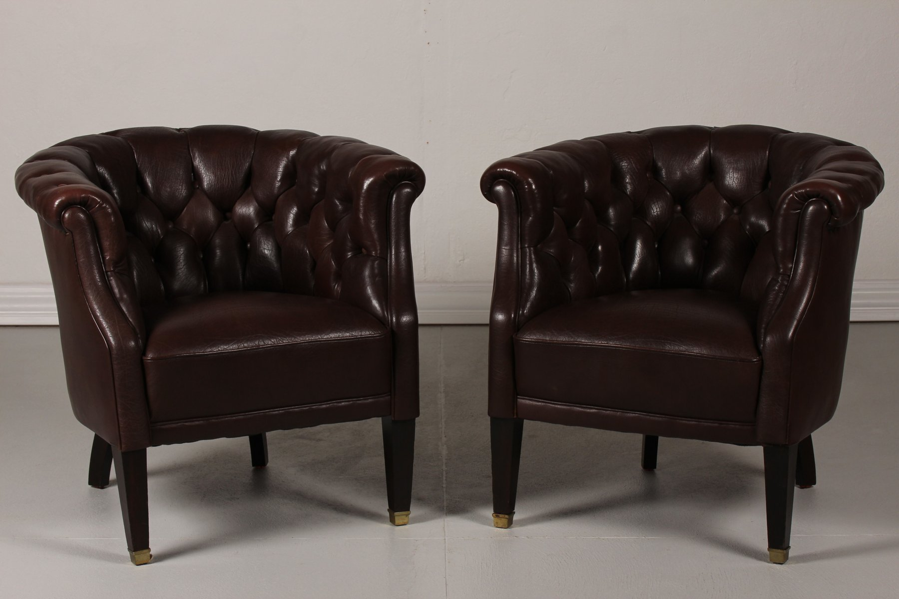 Danish Chesterfield Dark Brown Leather Armchairs, 1920s, Set Of 2