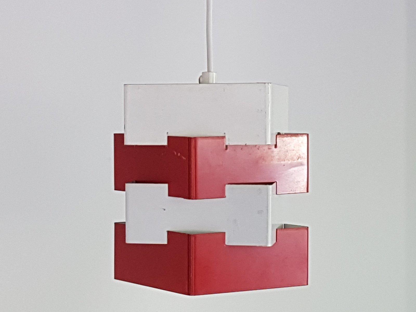 schwedische metall h ngelampen in wei rot von kronobergs belysning 1960er 2er set bei. Black Bedroom Furniture Sets. Home Design Ideas