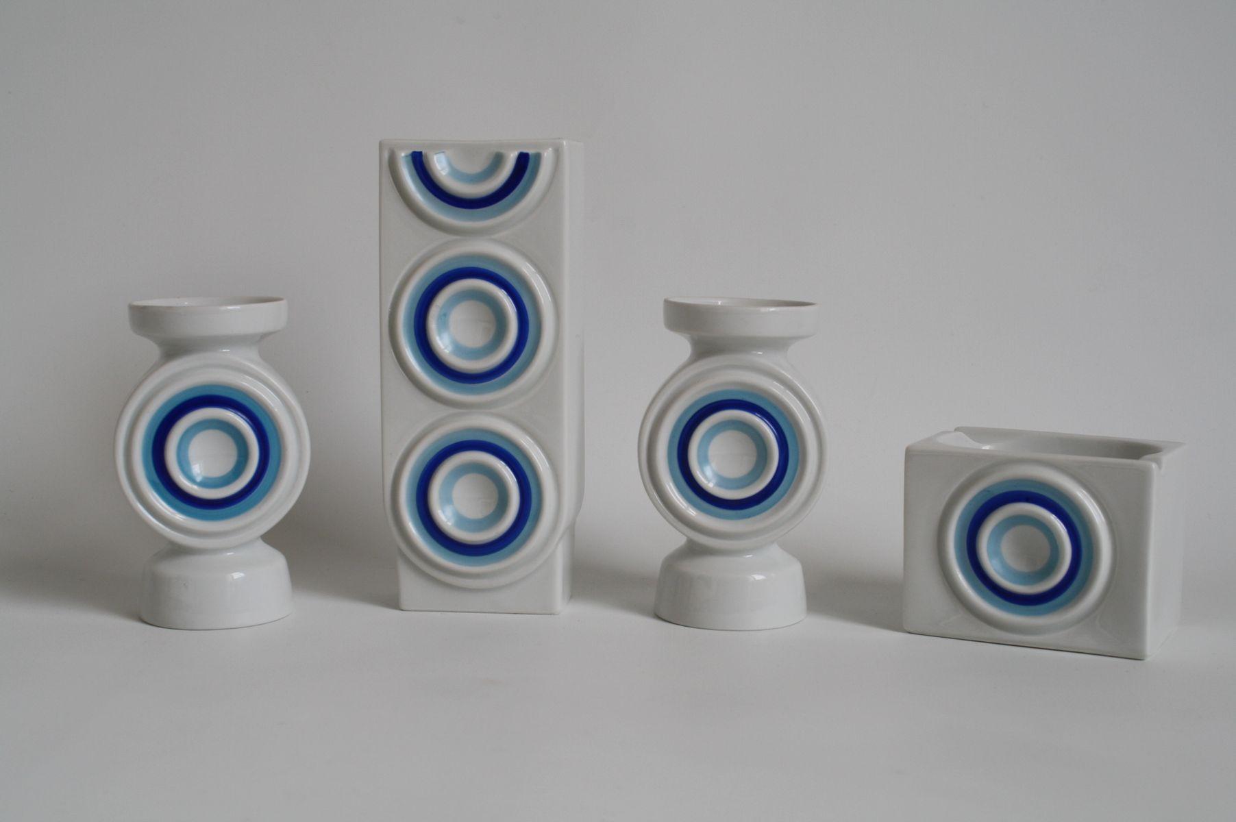 deutsche op art porzellan vasen aschenbecher von plankenhammer 1960er 4er set bei pamono kaufen. Black Bedroom Furniture Sets. Home Design Ideas