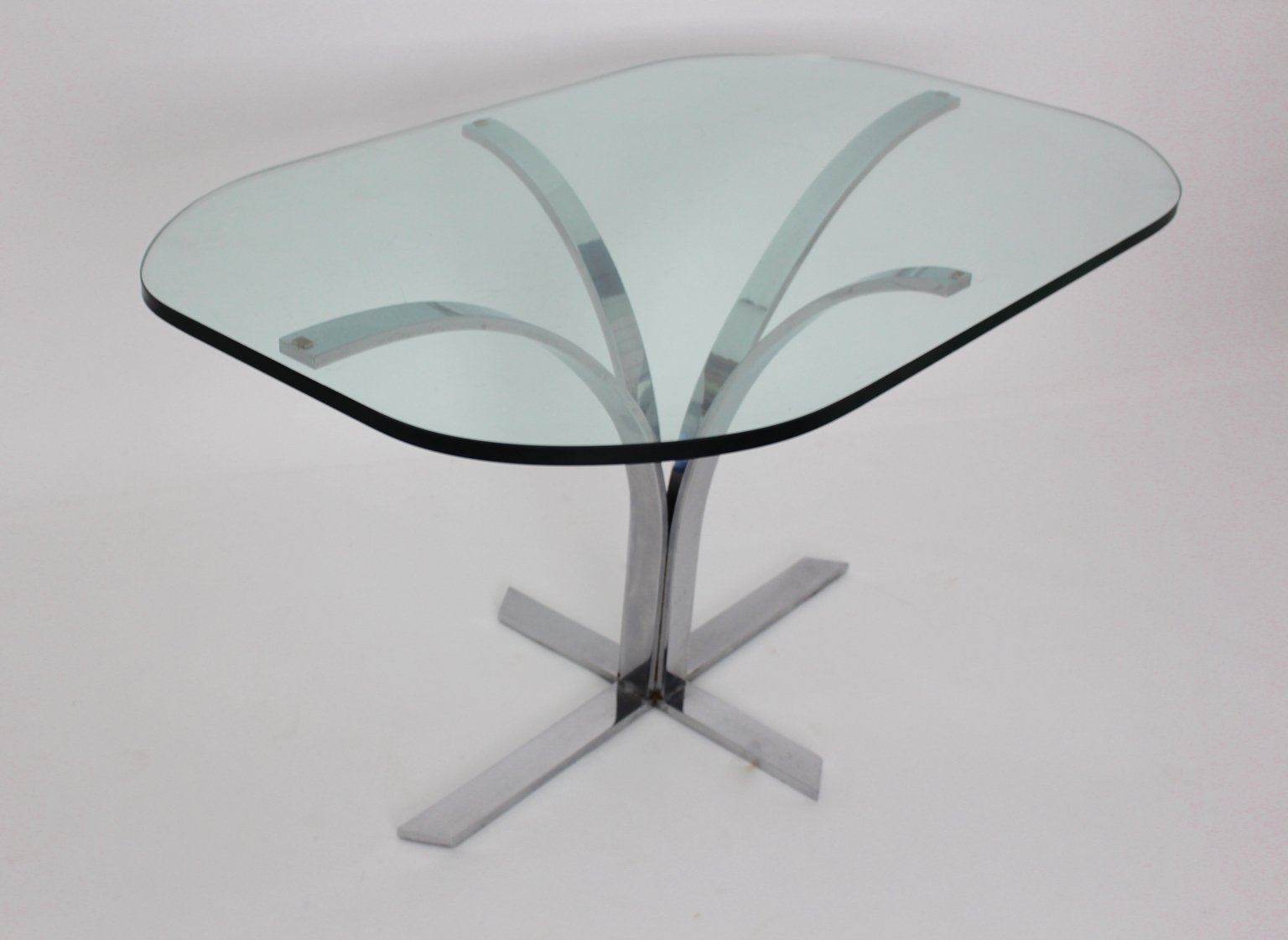 German Glass And Chrome Dining Table, 1960s For Sale At Pamono