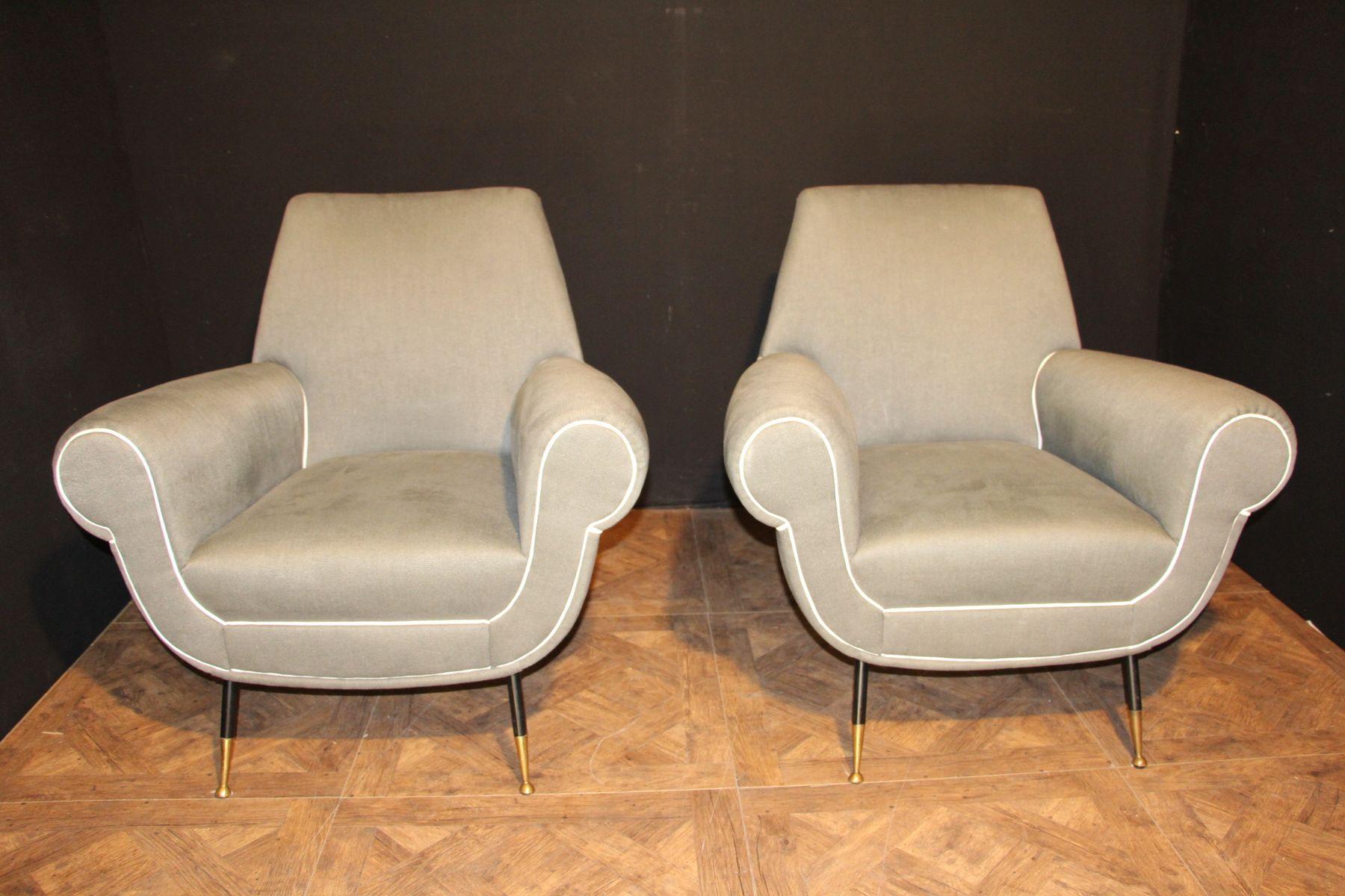 graue italienische sessel 1950er 2er set bei pamono kaufen. Black Bedroom Furniture Sets. Home Design Ideas