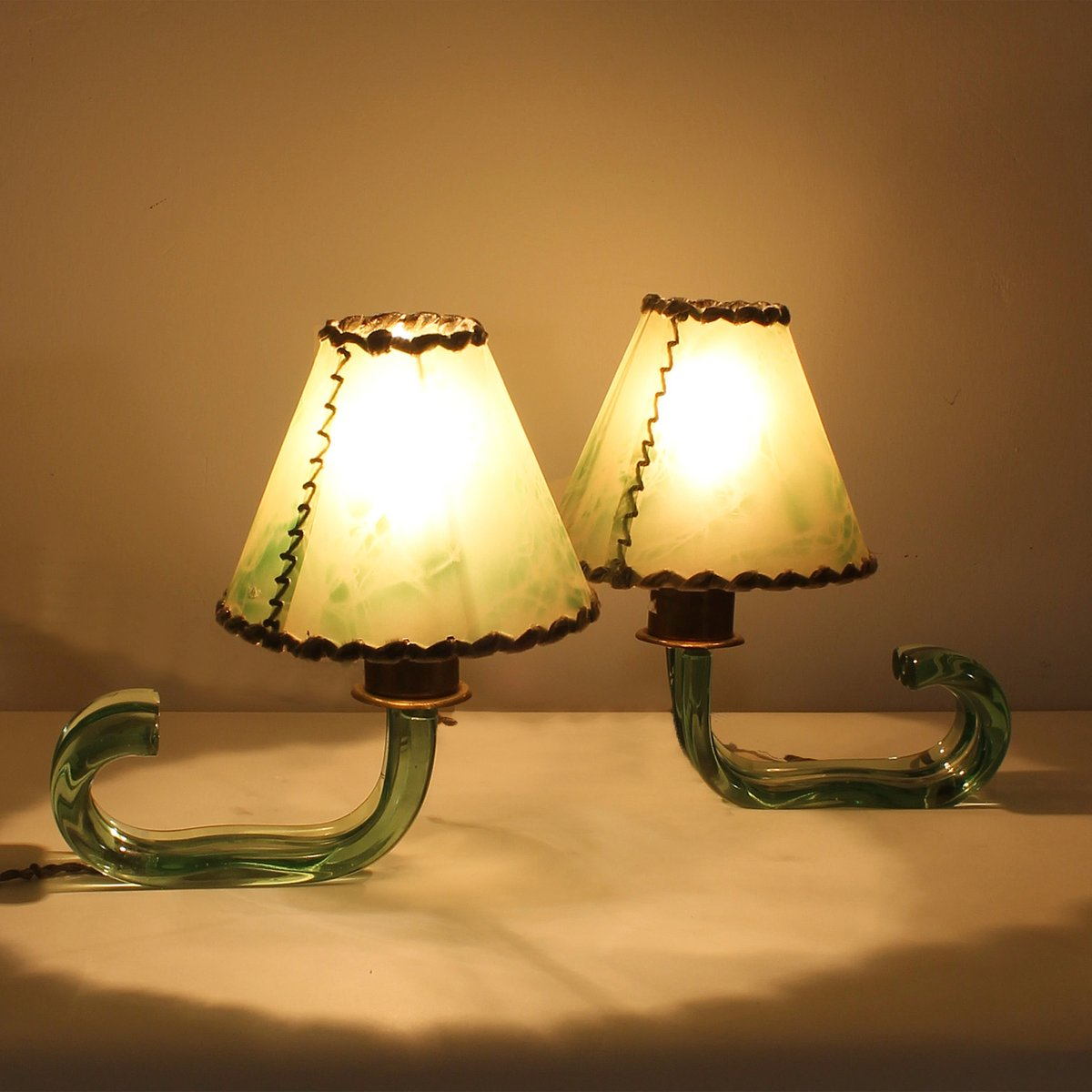 italienische messing glas mini lampen von seguso 1940er. Black Bedroom Furniture Sets. Home Design Ideas