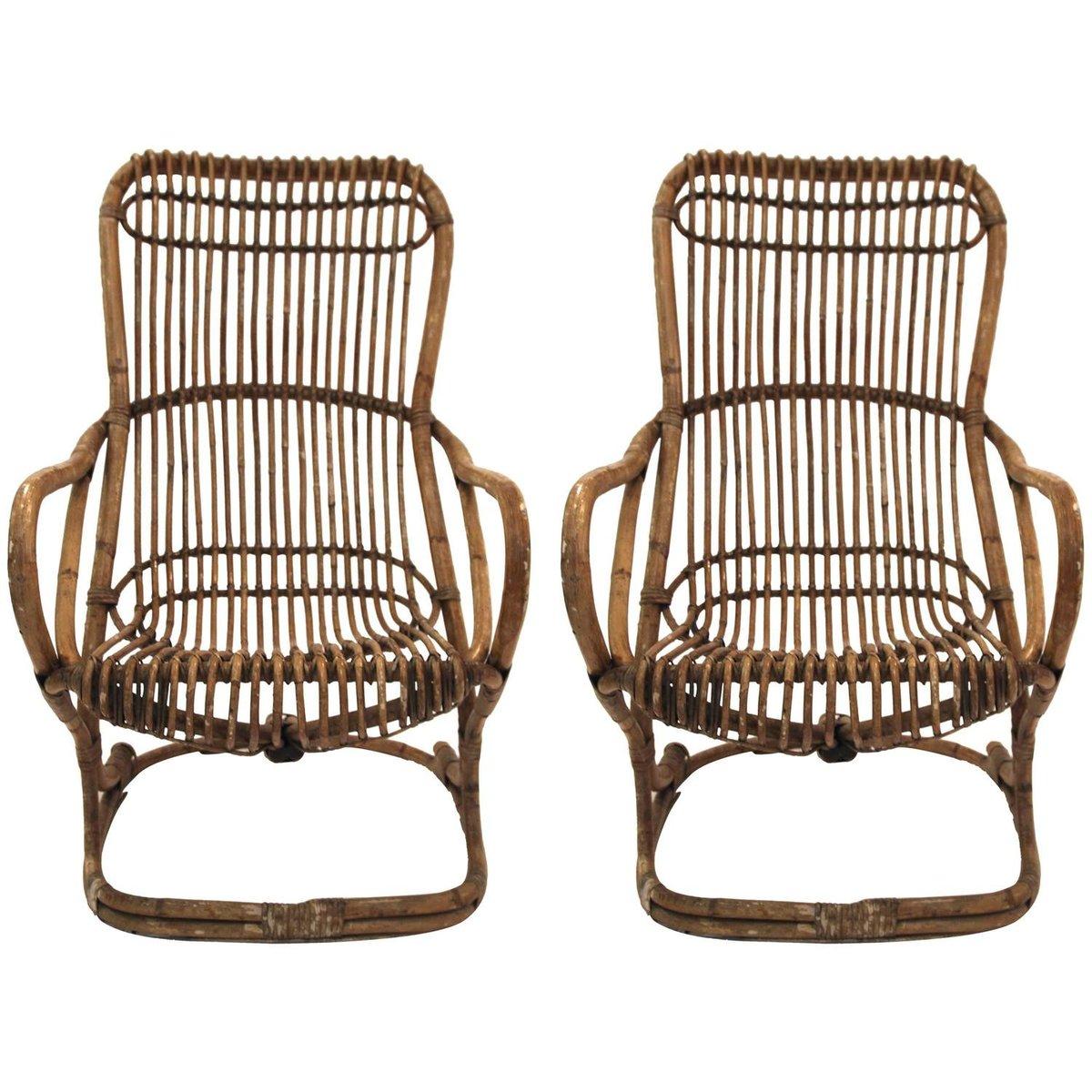 Italienische bambus sessel 1970er 2er set bei pamono kaufen for Sessel italienisches design