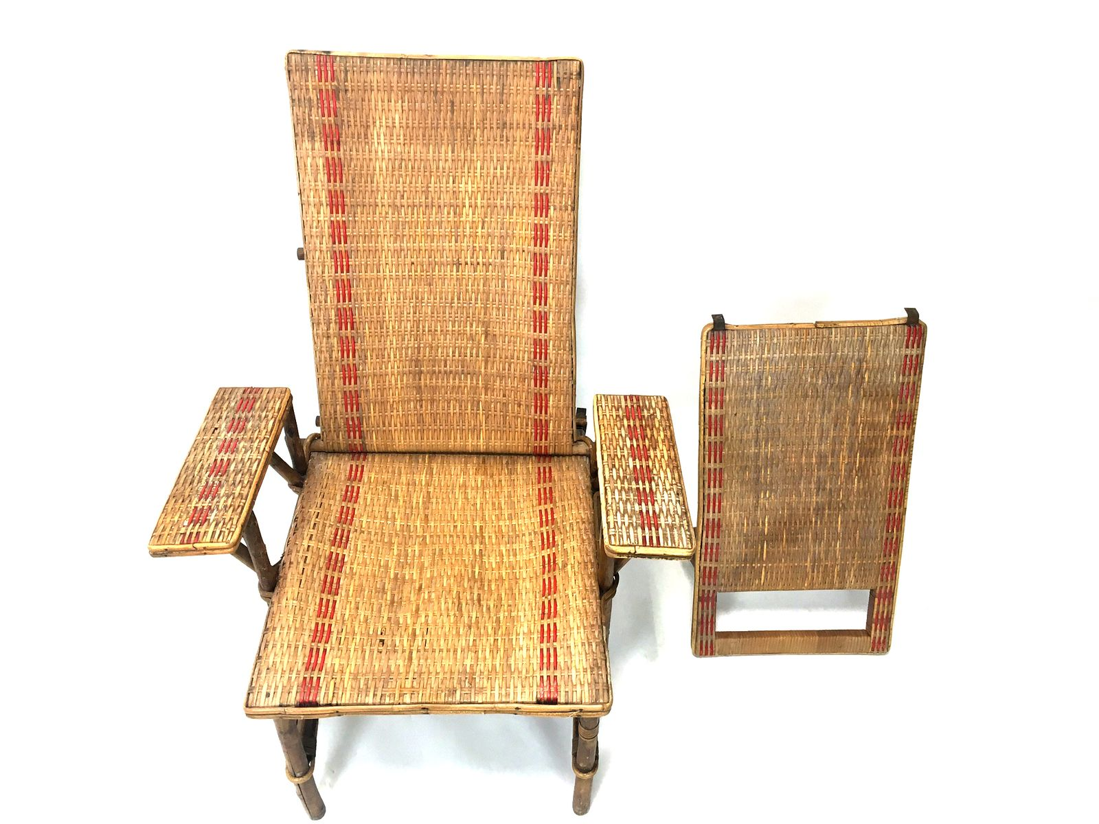 French wicker and bamboo chaise longue with footrest for Chaise longue balancelle