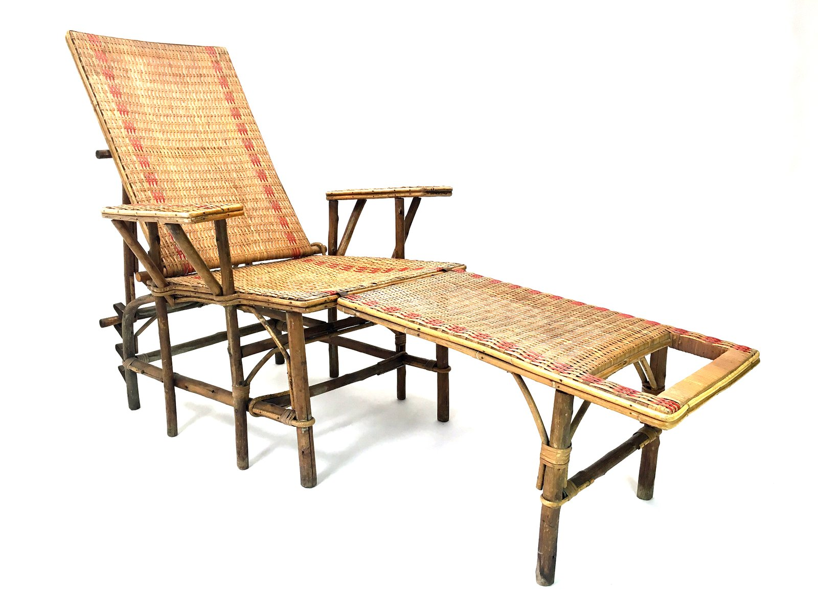 French wicker and bamboo chaise longue with footrest for Chaise longue 2 personnes