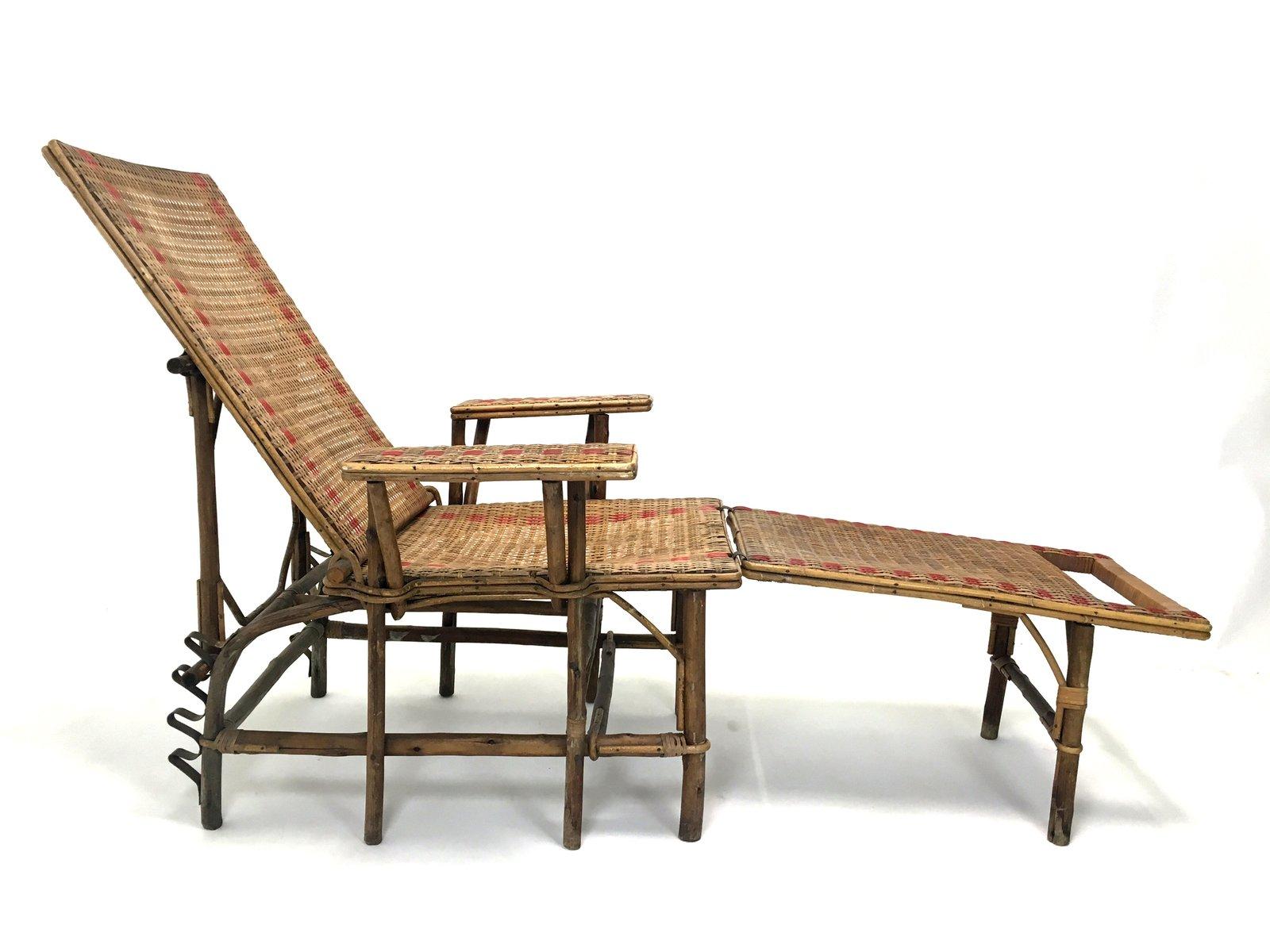 fauteuil en osier et bambou avec repose pieds france 1920s en vente sur pamono. Black Bedroom Furniture Sets. Home Design Ideas