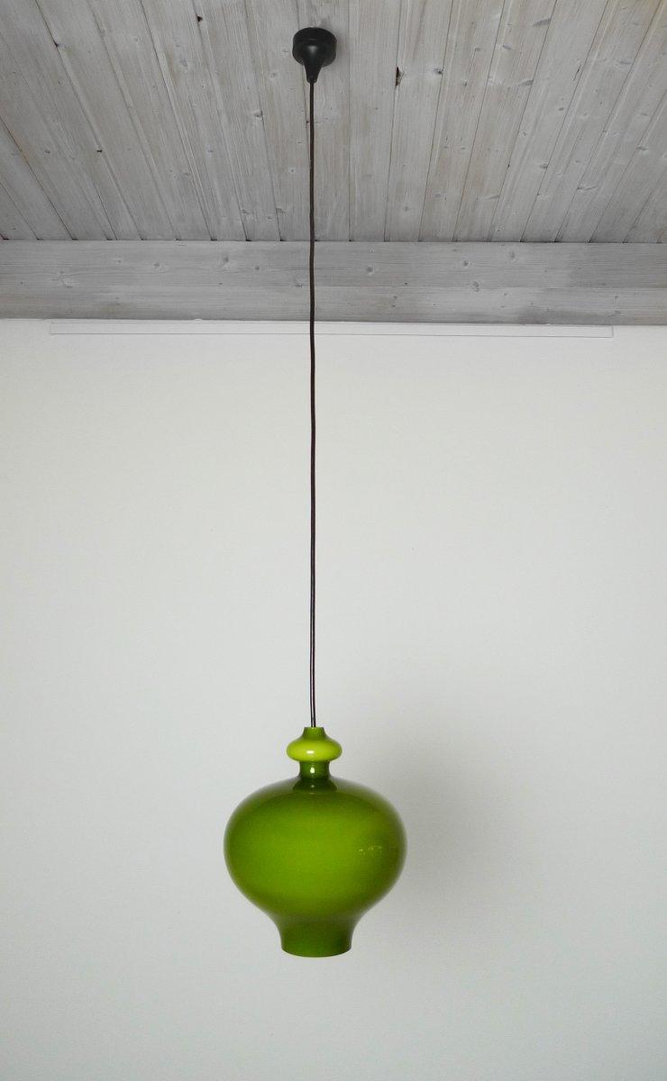 German Green Handblown Glass Pendant Lamp From Staff