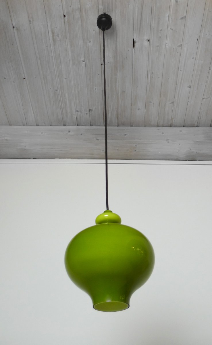 German green handblown glass pendant lamp from staff 1960s for sale german green handblown glass pendant lamp from staff 1960s aloadofball Images