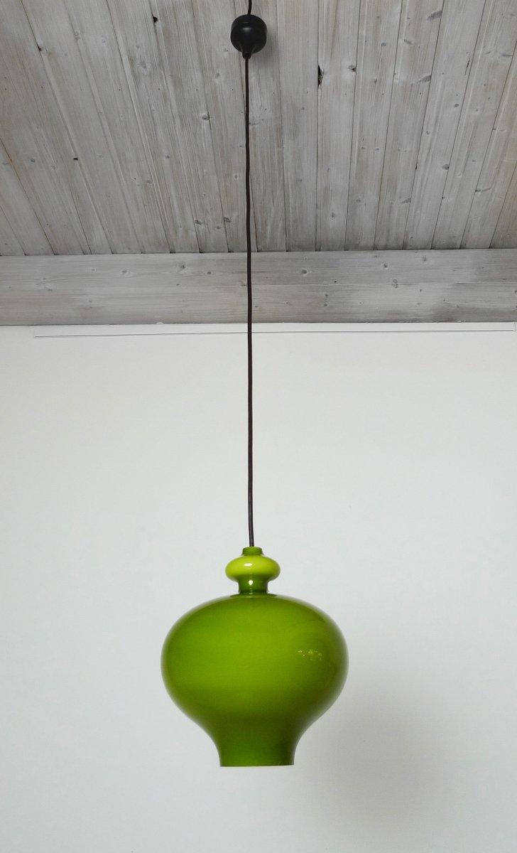 German green handblown glass pendant lamp from staff 1960s for sale german green handblown glass pendant lamp from staff 1960s audiocablefo