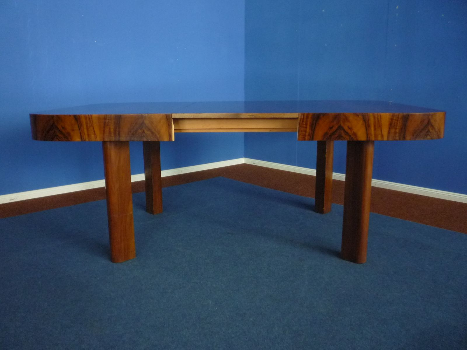 art deco extendable german walnut dining table 1930s - Walnut Dining Table