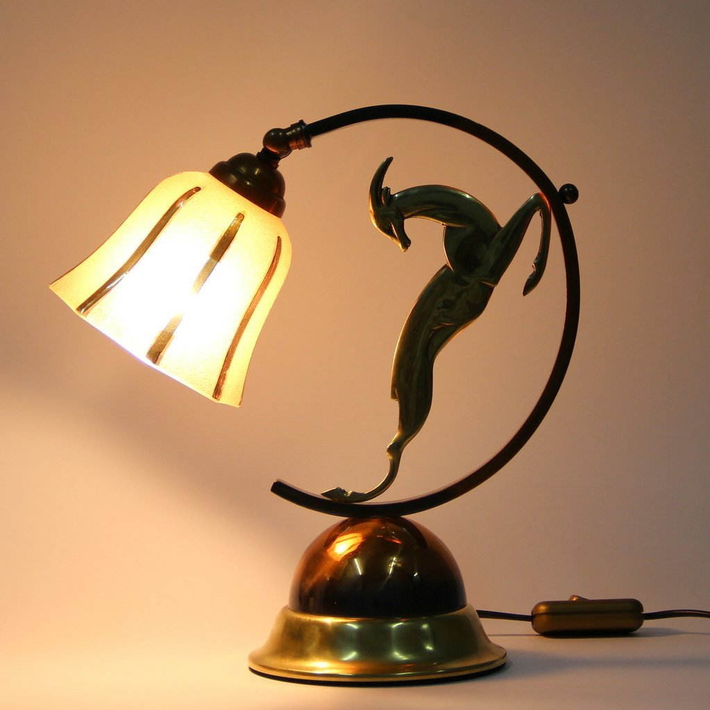 Art Deco French Brass Copper And Bronze Table Lamp For