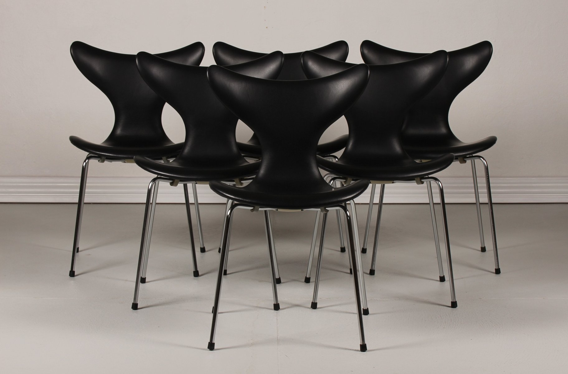 Danish Lily Chairs 3108 By Arne Jacobsen For Fritz Hansen, 1950s, Set Of 6