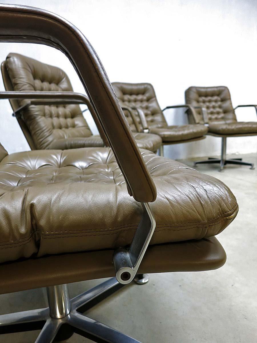 Braune mid century aluminium lounge ledersessel 1960er for Braune ledersessel