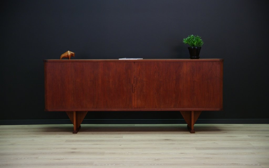 d nisches teak sideboard mit zwei tambour t ren 1960er bei pamono kaufen. Black Bedroom Furniture Sets. Home Design Ideas