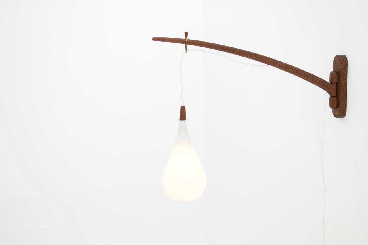 danish teak glass wall light from holmegaard 1960s for. Black Bedroom Furniture Sets. Home Design Ideas