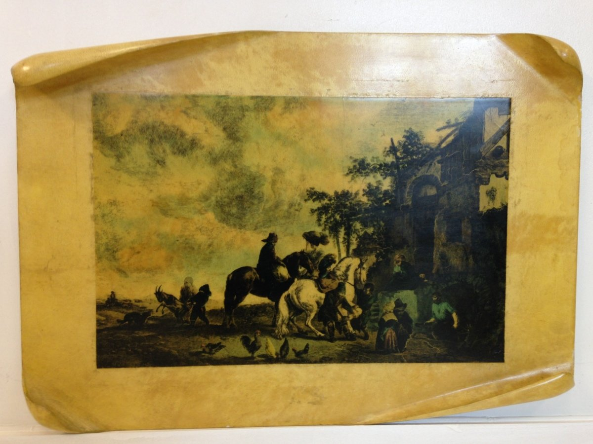 Mid-Century Italian Lacquered Parchment Wall Plaque for sale at Pamono