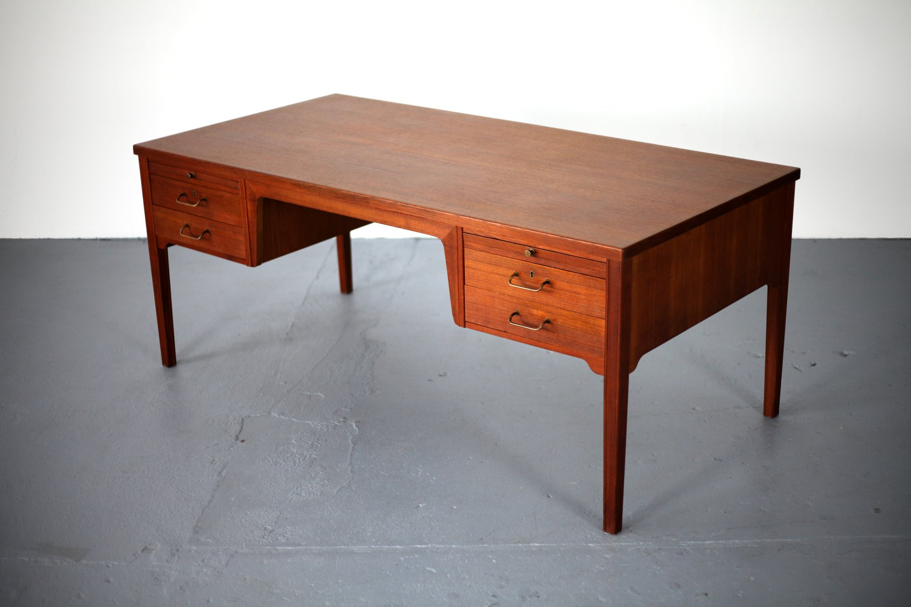 Mid Century Danish Teak Desk With Six Drawers For Sale At