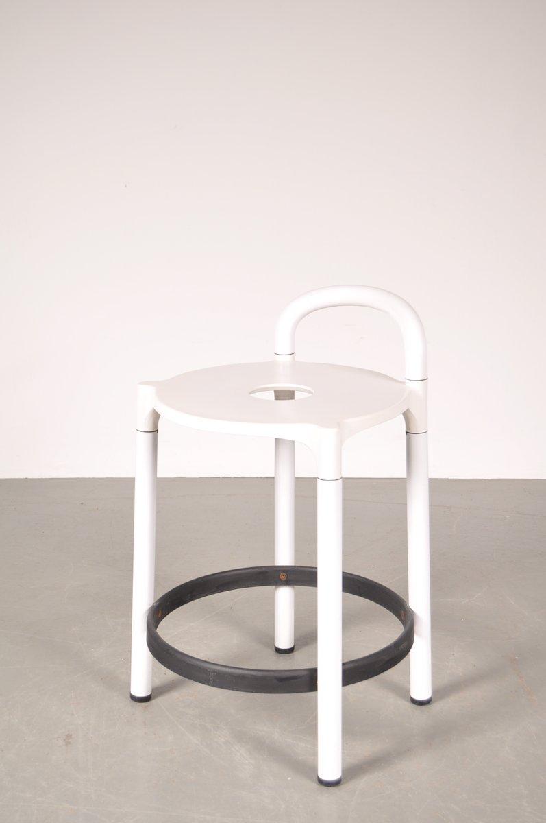 tabouret de bar blanc avec plastique noir par anna castelli ferrieri pour kartell italie 1970s. Black Bedroom Furniture Sets. Home Design Ideas