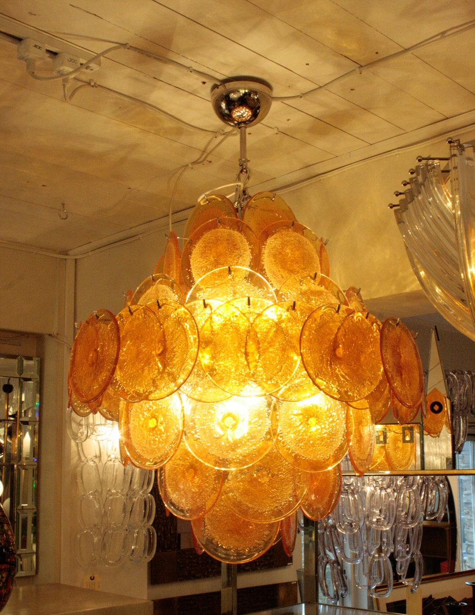 Italian disc chandelier from vistosi 1960s for sale at pamono italian disc chandelier from vistosi 1960s aloadofball Image collections