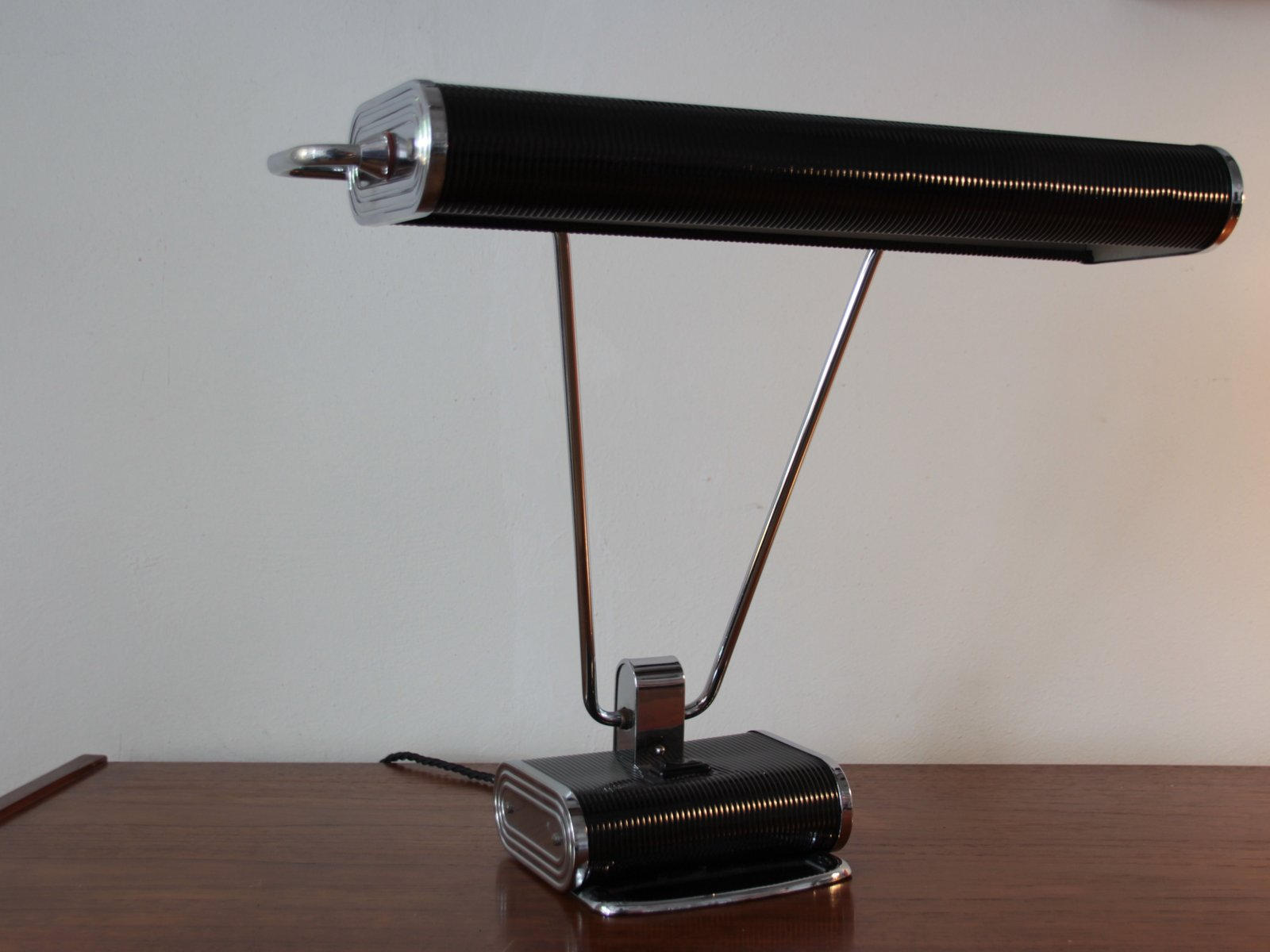 Black Chrome Art Deco French Desk Lamp By Eileen Gray For Jumo For Sale At  Pamono