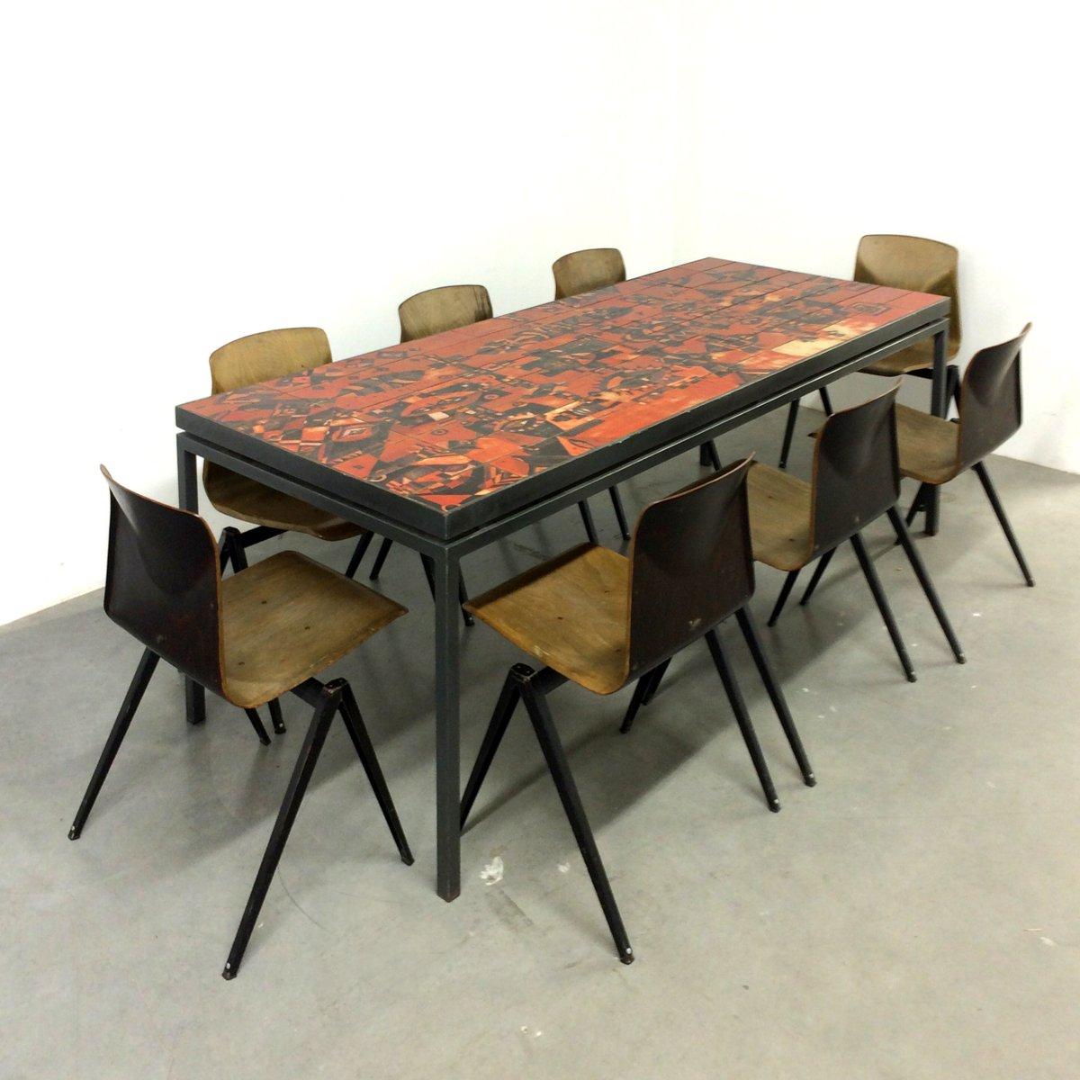 Tavolo da pranzo fatto a mano con superficie di piastrelle di wilhelm elly kuch 1967 in - Tavolo con piastrelle ...