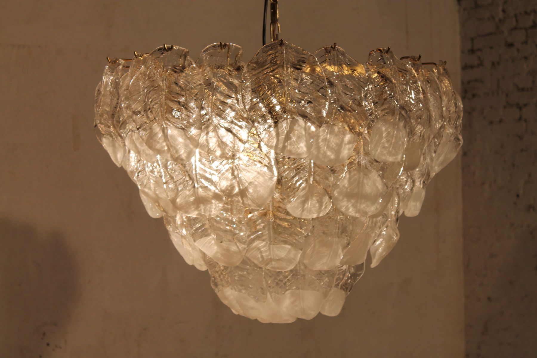 Large glass leaf chandelier from mazzega 1960s for sale at pamono price per piece arubaitofo Choice Image