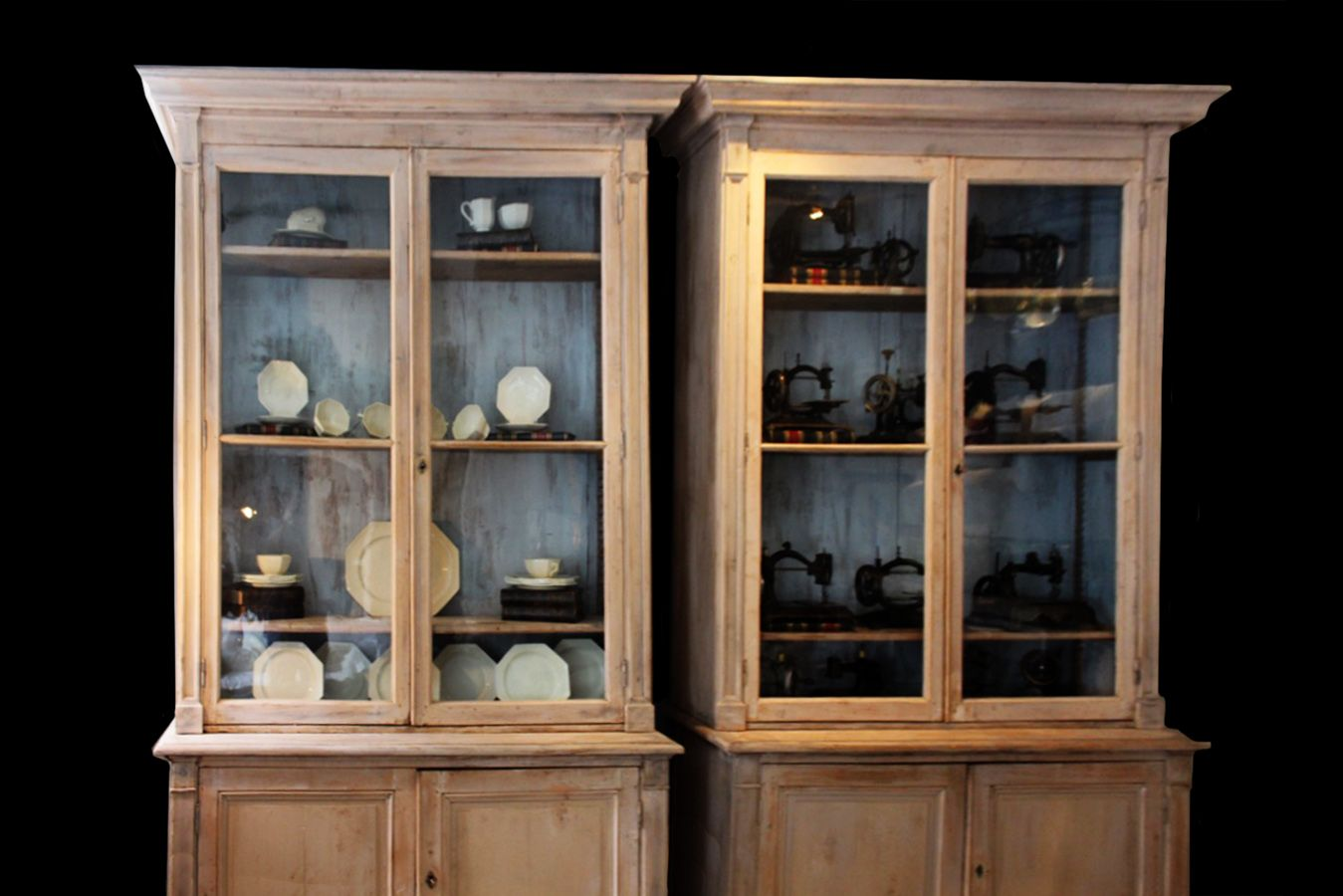 Antique French Pharmacy Cabinets, Set Of 2