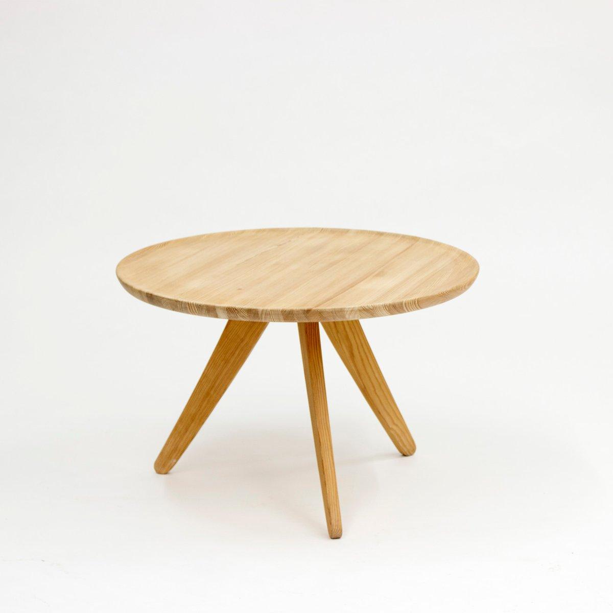 Swedish Pine Tripod Coffee Table, 1960s for sale at Pamono