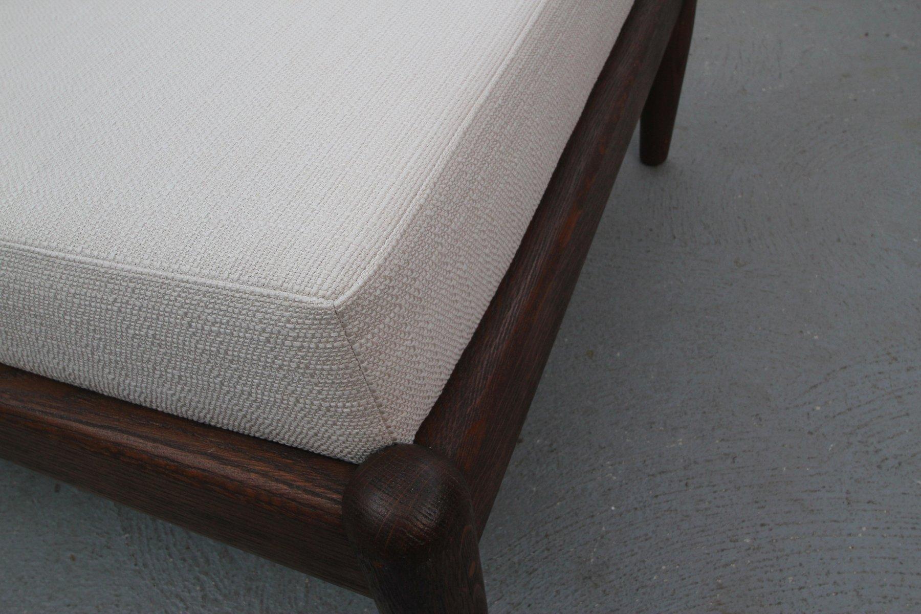 deutscher beiger polsterstuhl aus dunkler eiche 1950er. Black Bedroom Furniture Sets. Home Design Ideas