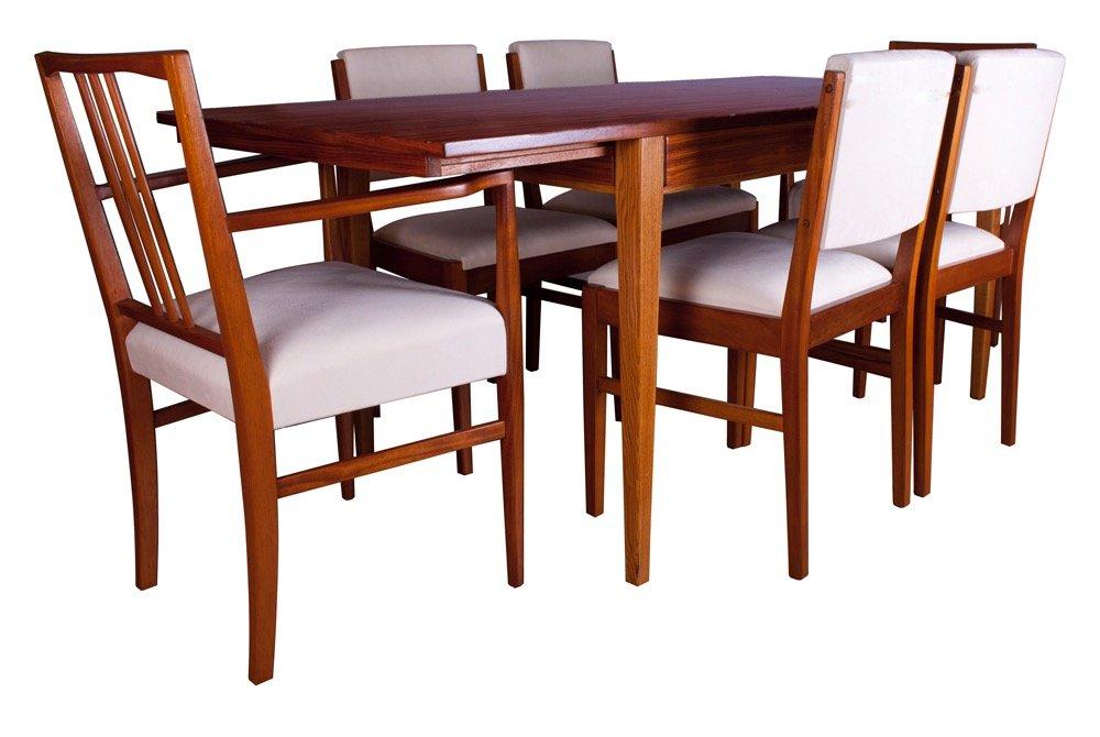 Tavolo da pranzo e sedie tulip in legno di gordon russell for Sedie per tavolo tulip