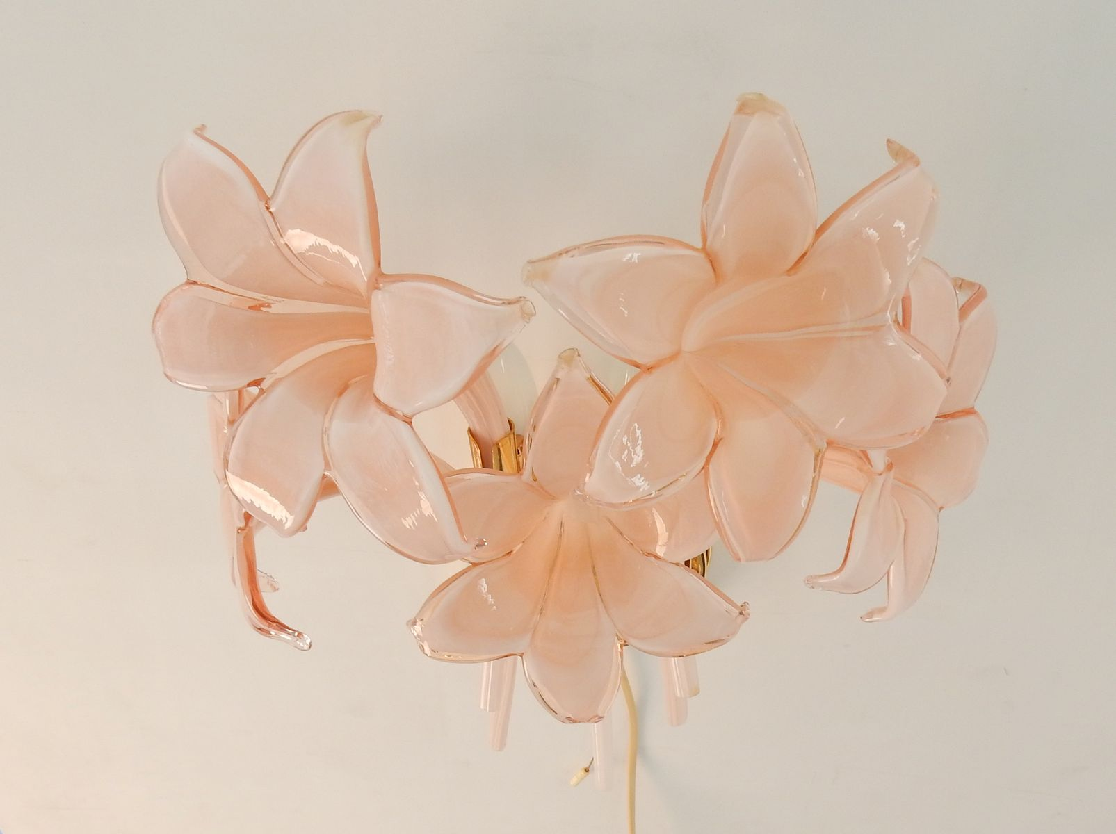Vintage murano glass flower wall lights set of 2 for sale at pamono price per set mozeypictures Images