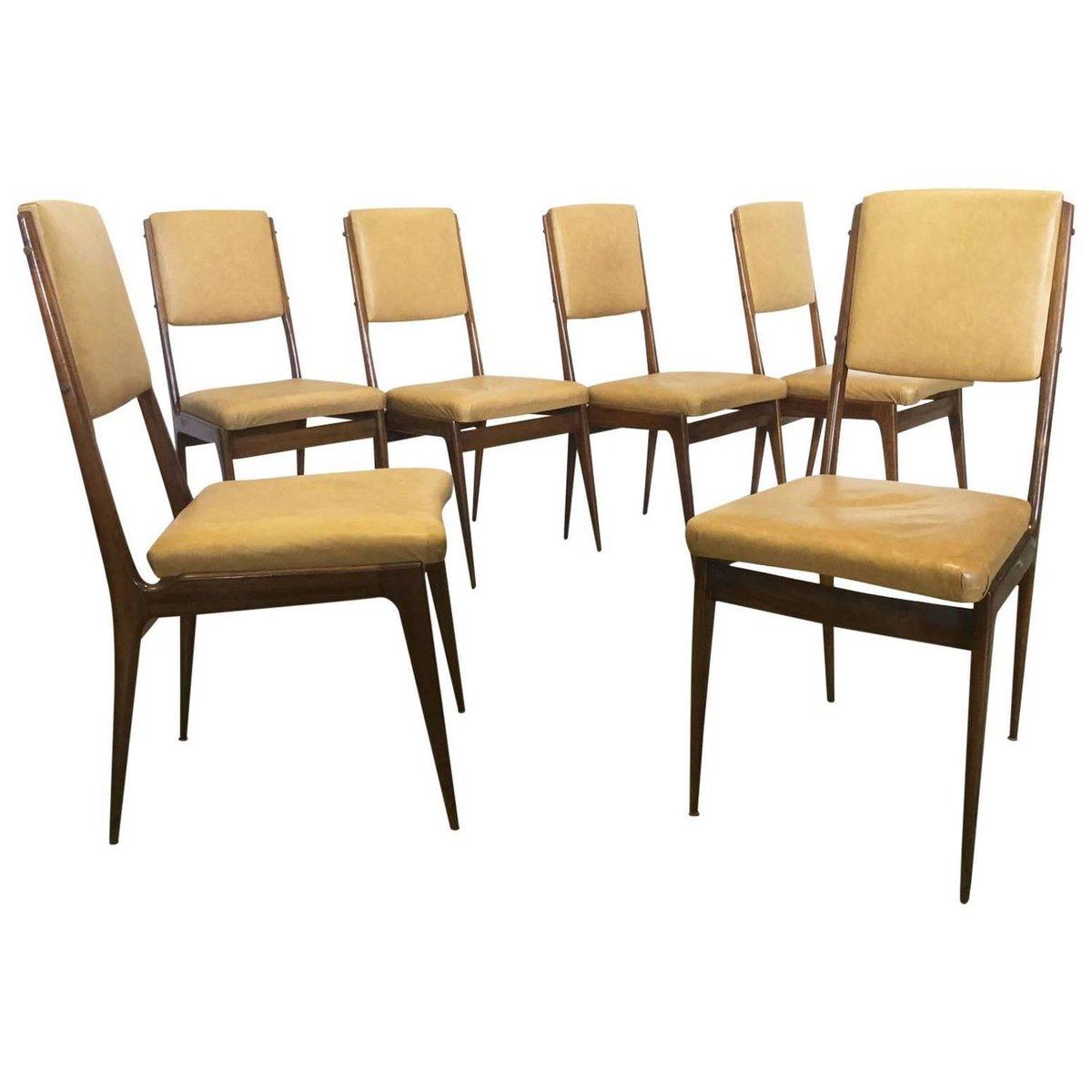 nussholz skai esszimmerst hle 1950er 6er set bei. Black Bedroom Furniture Sets. Home Design Ideas