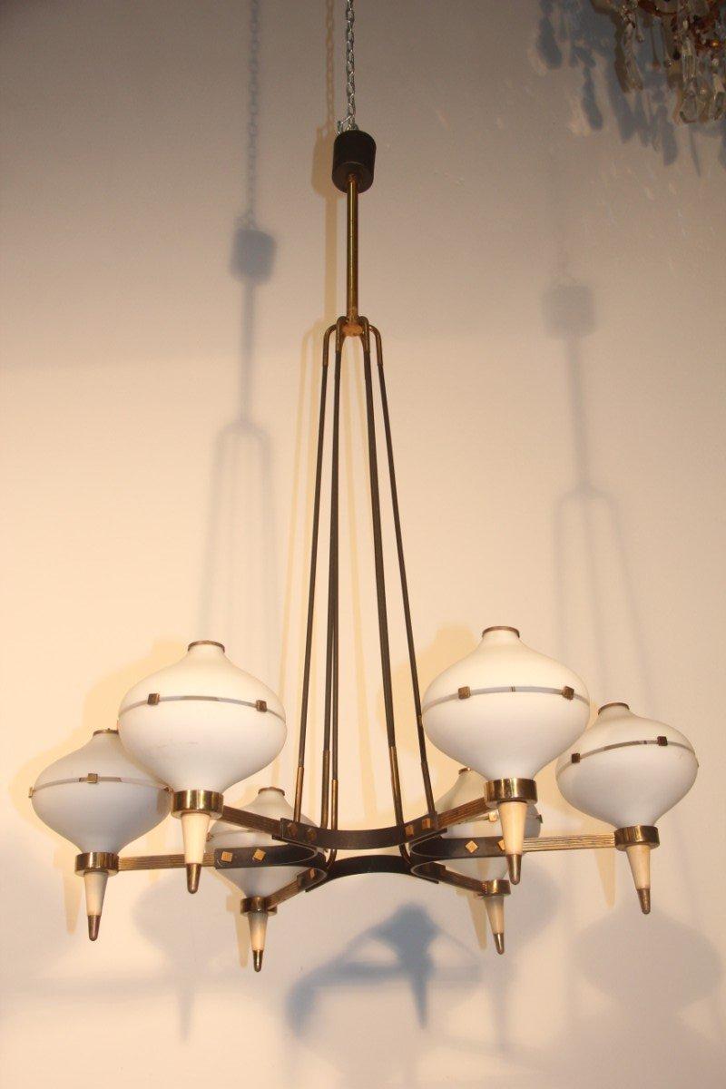 italienischer mid century kronleuchter mit sechs lampen 1950er bei pamono kaufen. Black Bedroom Furniture Sets. Home Design Ideas