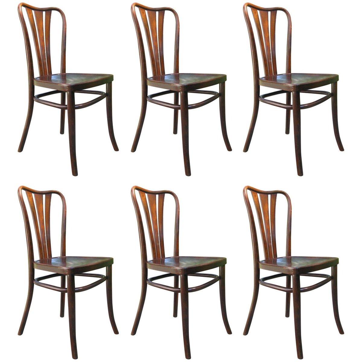 vintage esszimmerst hle von thonet 1930er 6er set bei. Black Bedroom Furniture Sets. Home Design Ideas
