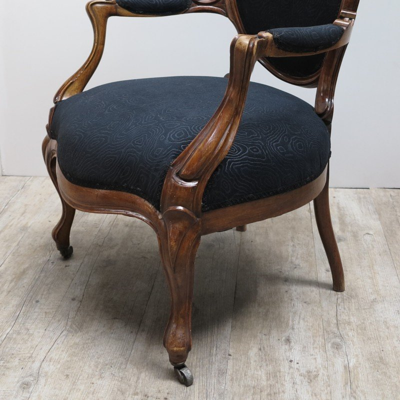 Lovely French Armchair With Black Upholstery, 1880s