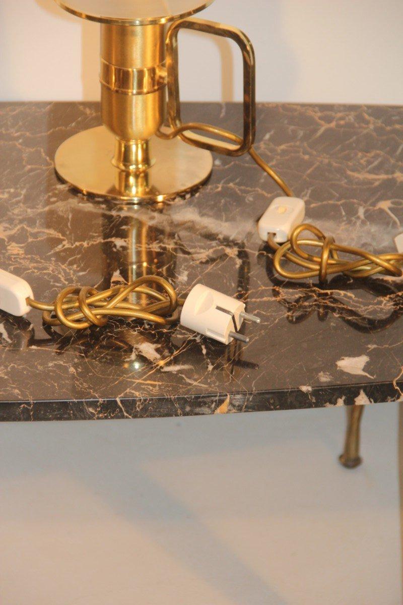 italienische tischlampe aus goldenem metall und murano glas 1970er 2er set bei pamono kaufen. Black Bedroom Furniture Sets. Home Design Ideas