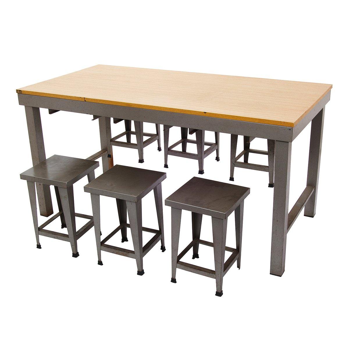 vintage tisch mit hockern im industriellen stil bei pamono kaufen. Black Bedroom Furniture Sets. Home Design Ideas