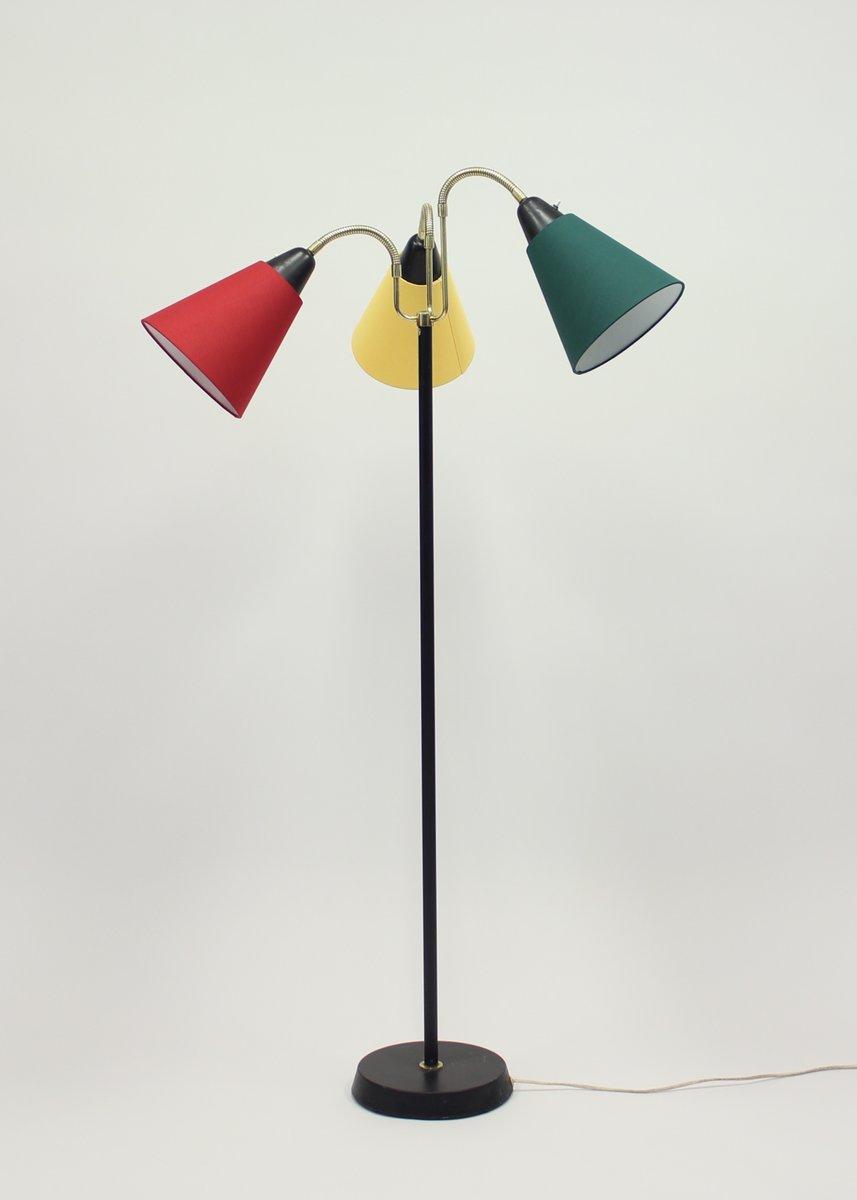 schwedische mid century stehlampe mit drei leuchten von ab armaturhantverk bei pamono kaufen. Black Bedroom Furniture Sets. Home Design Ideas