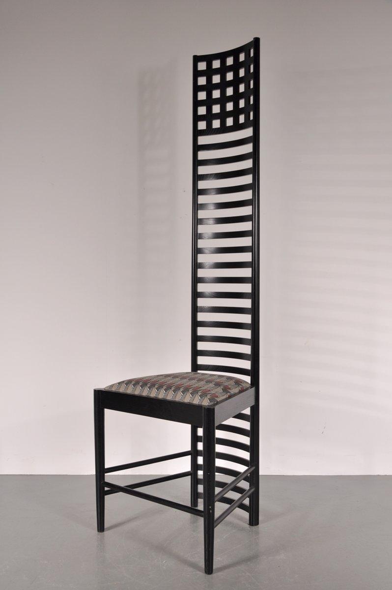 chaise xl edition hill house chair par charles rennie mackintosh pour cassina 1980s en vente. Black Bedroom Furniture Sets. Home Design Ideas