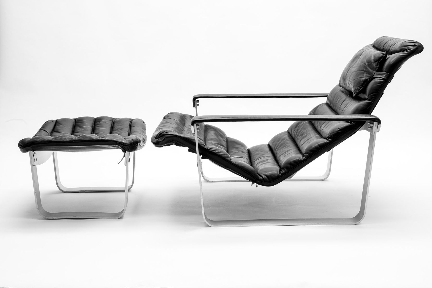 Finnish Pulkka Lounge Chair With Foot Stool By Ilmari Lappalainen For Asko,  1968