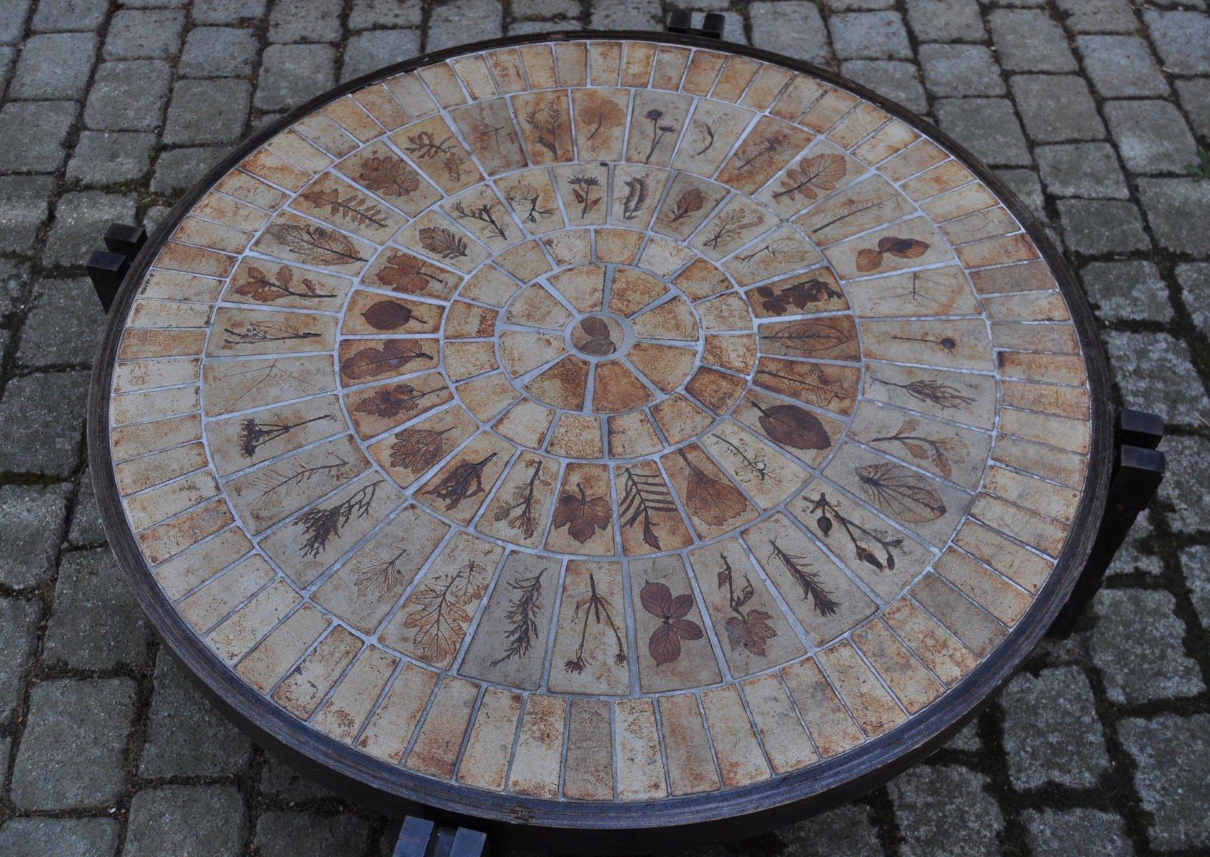 Runder vintage holztisch von roger capron bei pamono kaufen for Holztisch retro