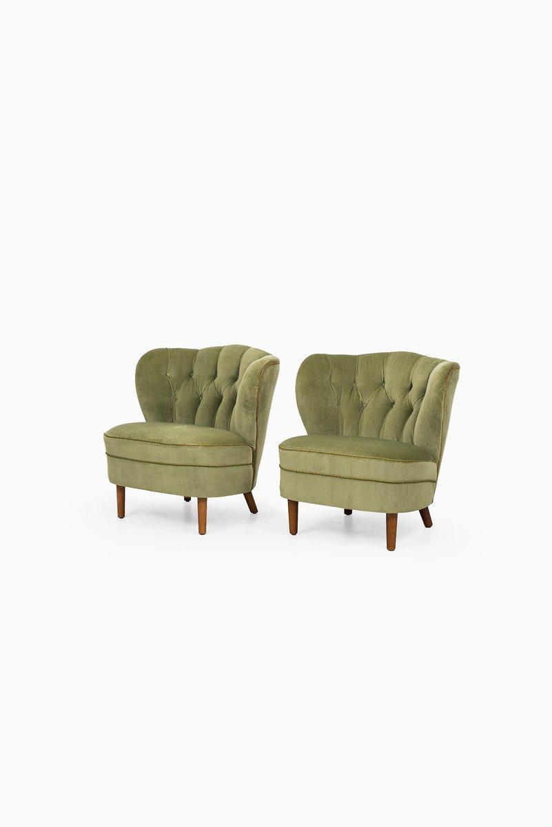 gr ne sessel aus samt 1940er bei pamono kaufen. Black Bedroom Furniture Sets. Home Design Ideas