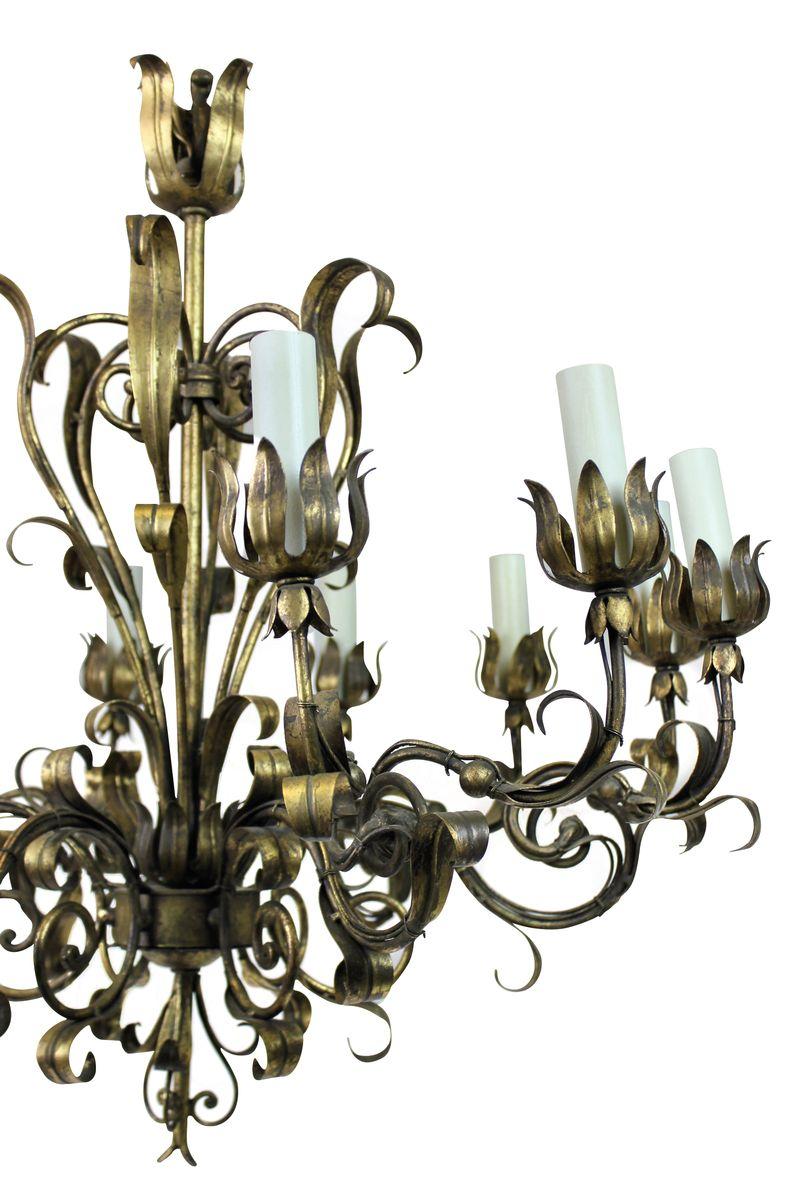 italienischer vergoldeter metall kronleuchter 1950er bei. Black Bedroom Furniture Sets. Home Design Ideas