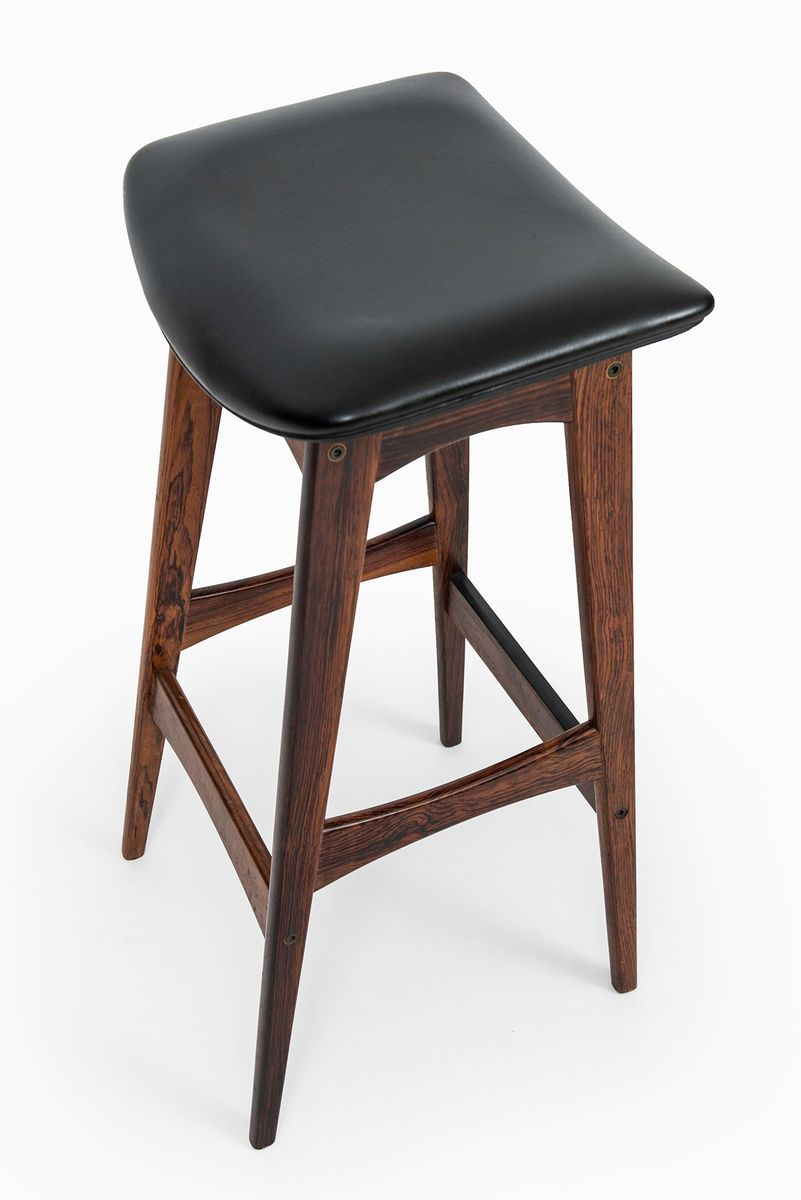 Rosewood Amp Leather Bar Stools By Johannes Andersen 1960s